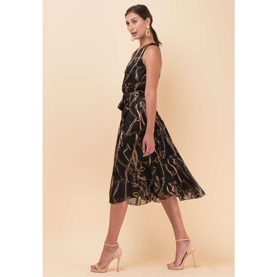 Εμπριμέ κλος φόρεμα με ζώνη