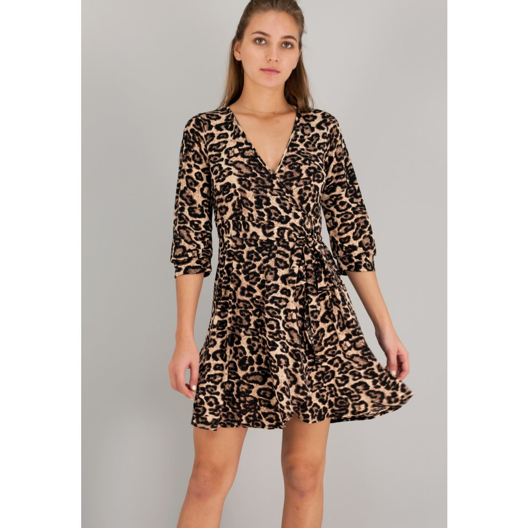 Κρουαζέ animal print φόρεμα με δέσιμο στη μέση. ενδυματα   φορεματα