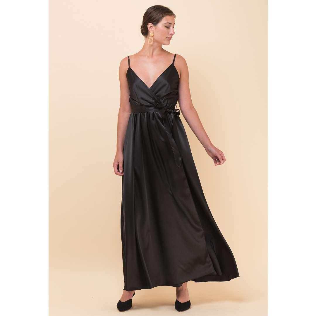 Σατέν φόρεμα με υφασμάτινη ζώνη