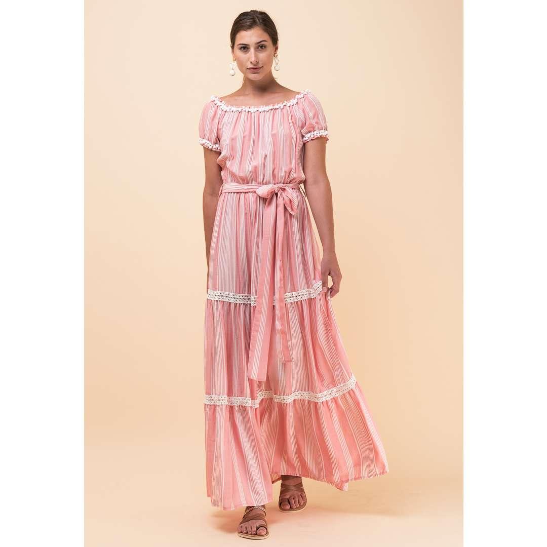 Μακρύ φόρεμα με πον πον λεπτομέρεια
