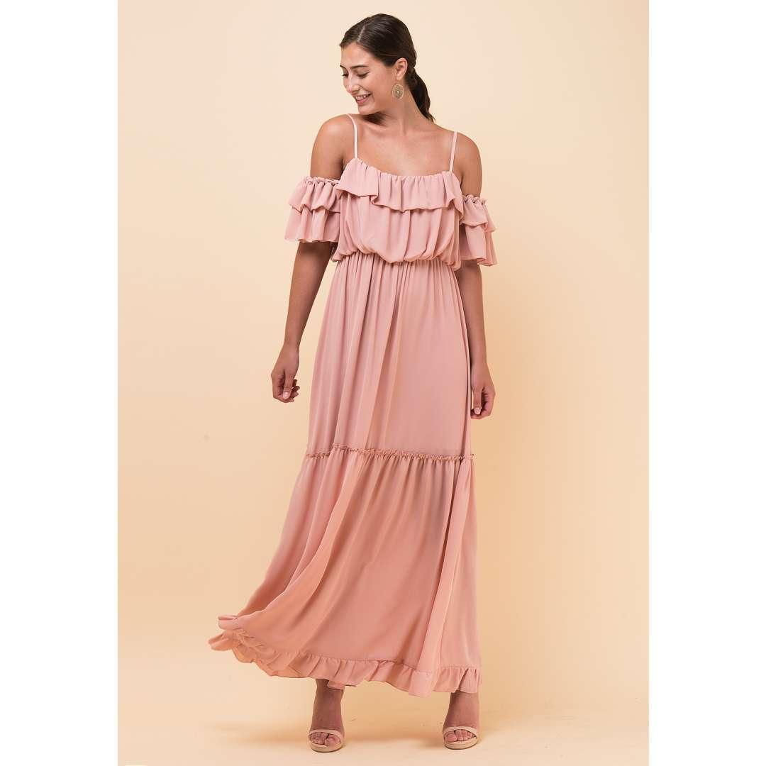 Maxi φόρεμα με έξω τους ώμους και βολάν