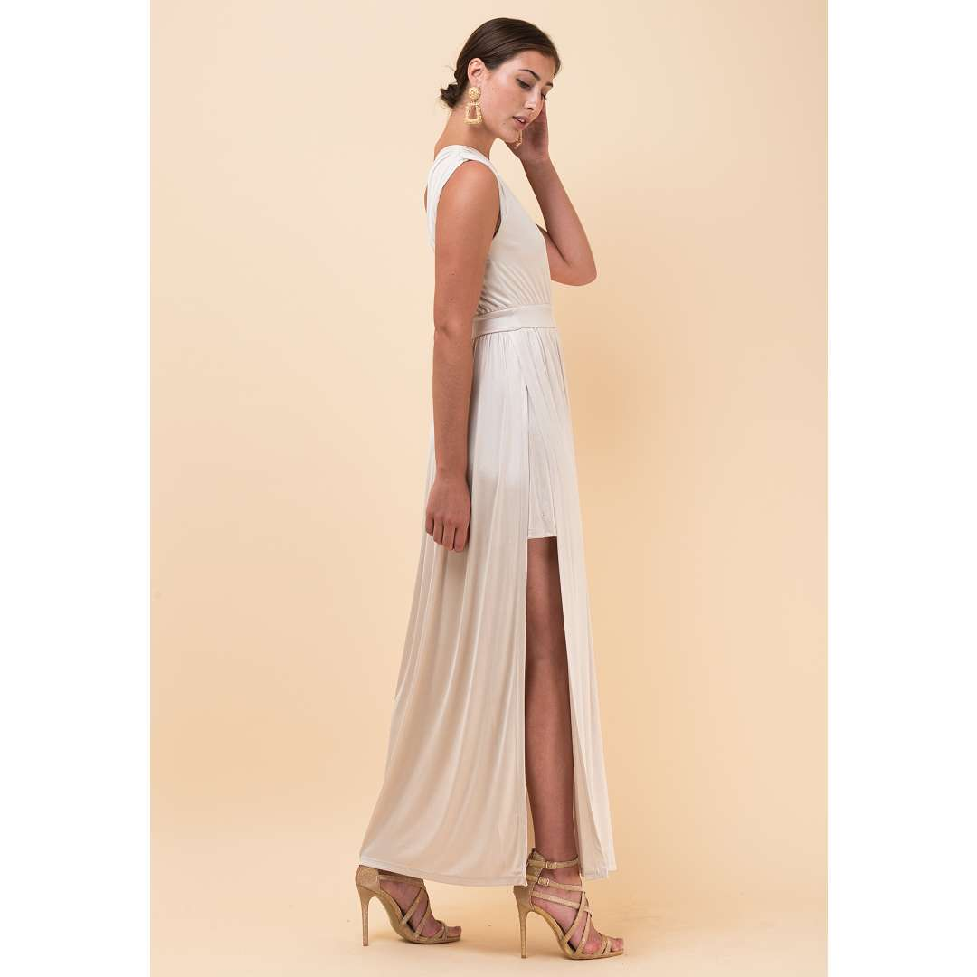 Maxi λαμέ φόρεμα με έναν ώμο