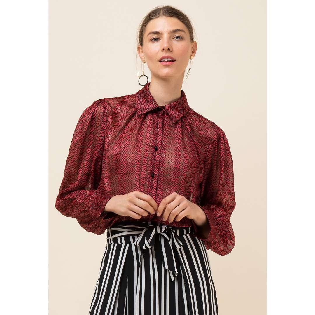 Ημιδιαφανές πουκάμισο με τύπωμα