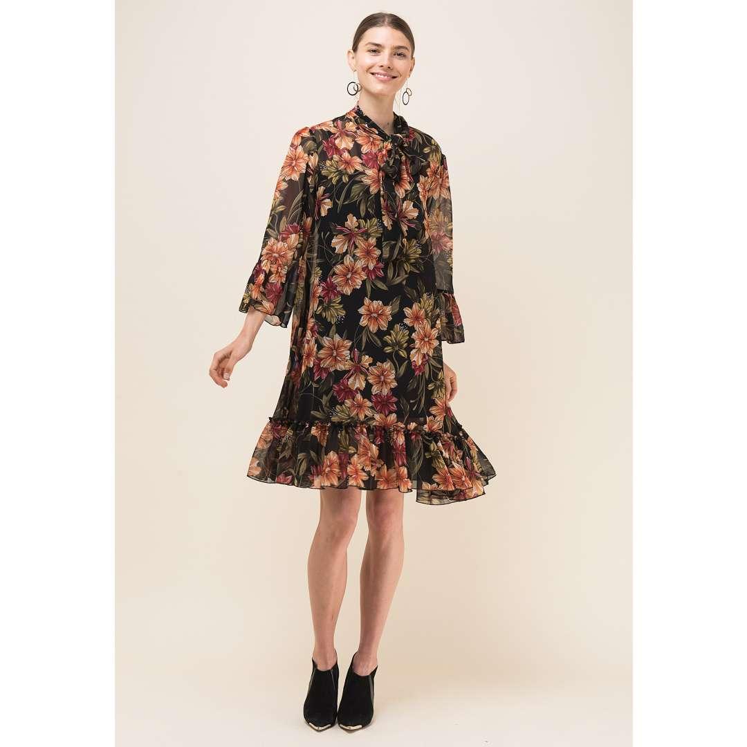 Loose φλοράλ φόρεμα με δέσιμο στο λαιμό