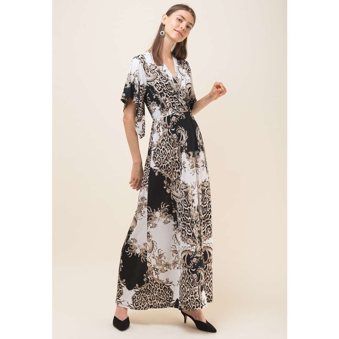Maxi φόρεμα με τύπωμα και μανίκι νυχτερίδα