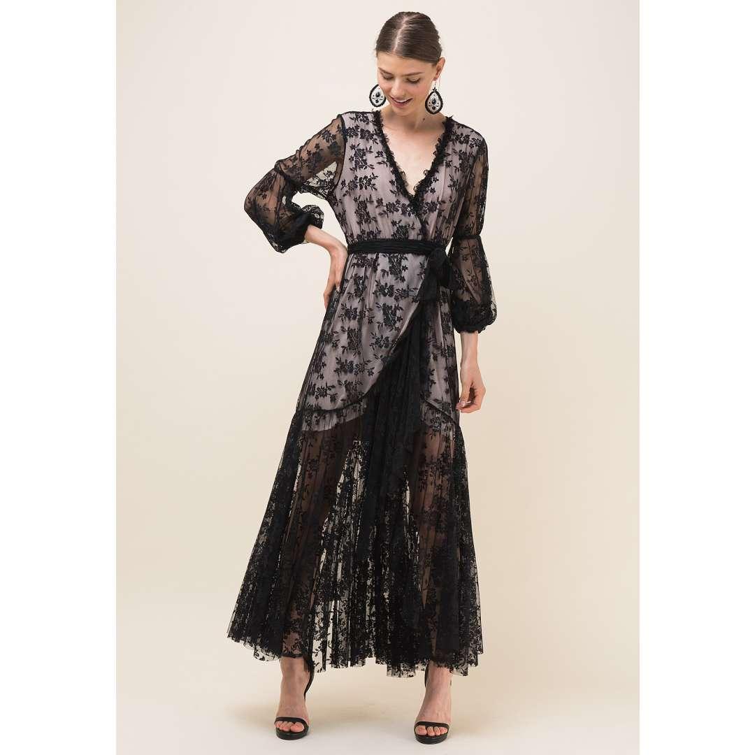 Maxi δετό δαντελένιο φόρεμα