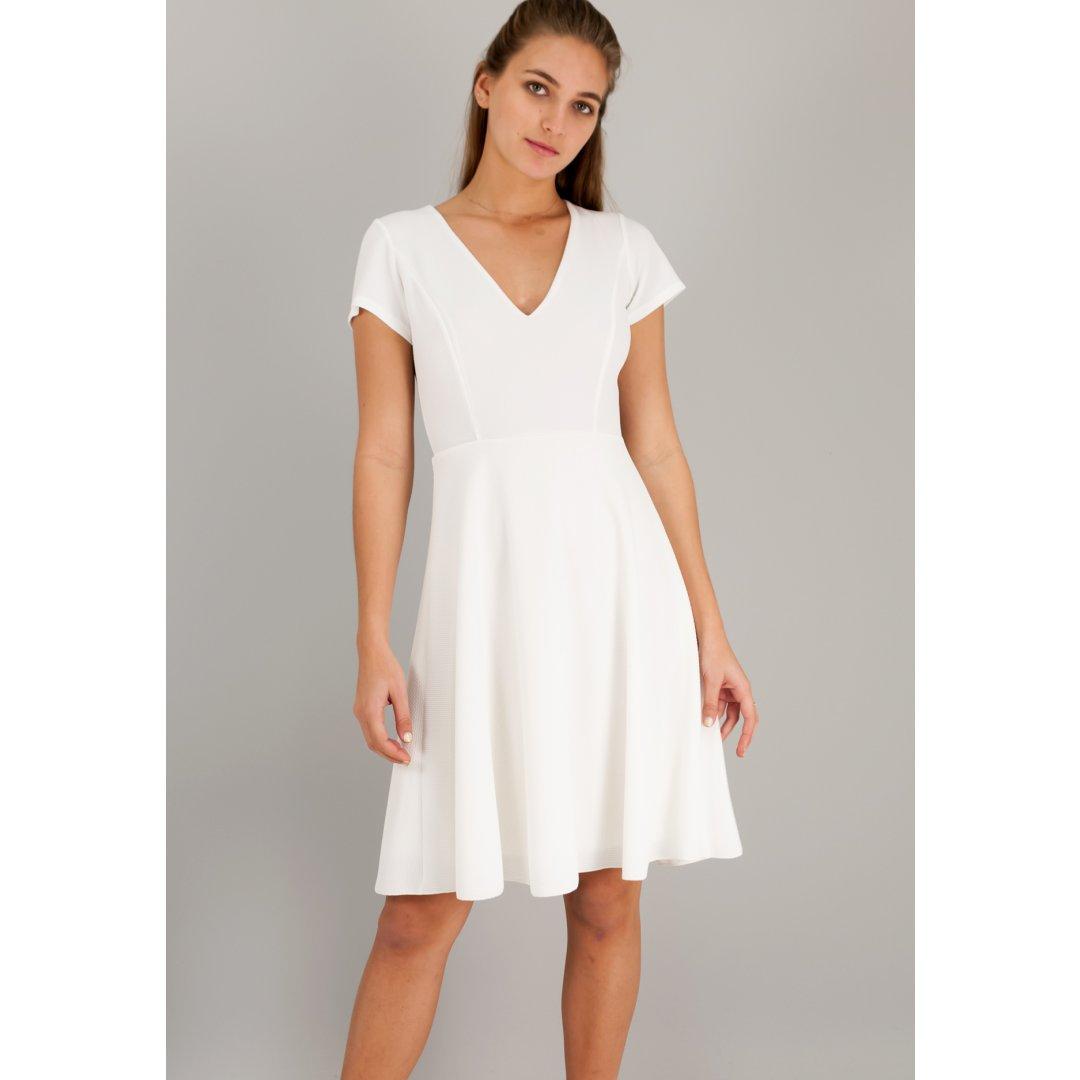 Μίντι φόρεμα σε γραμμή Α με λαιμόκοψη V. ενδυματα   φορεματα