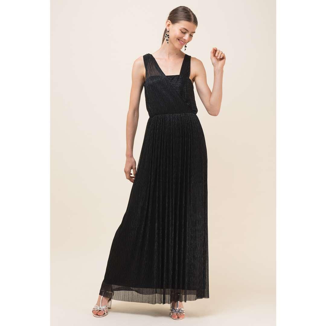 Μακρύ lurex φόρεμα με κρουαζέ σχέδιο
