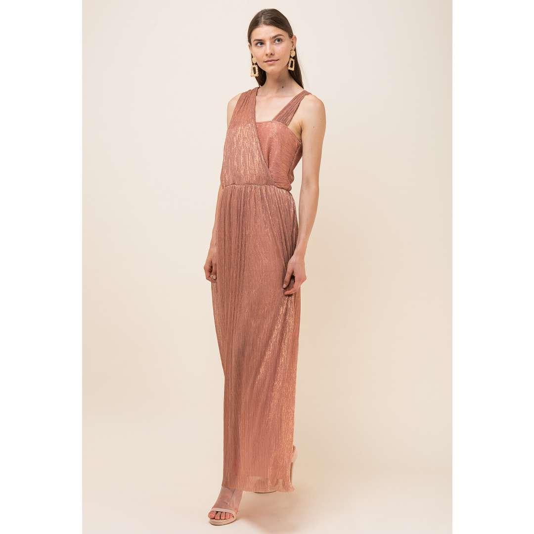 Maxi lurex φόρεμα με κρουαζέ σχέδιο