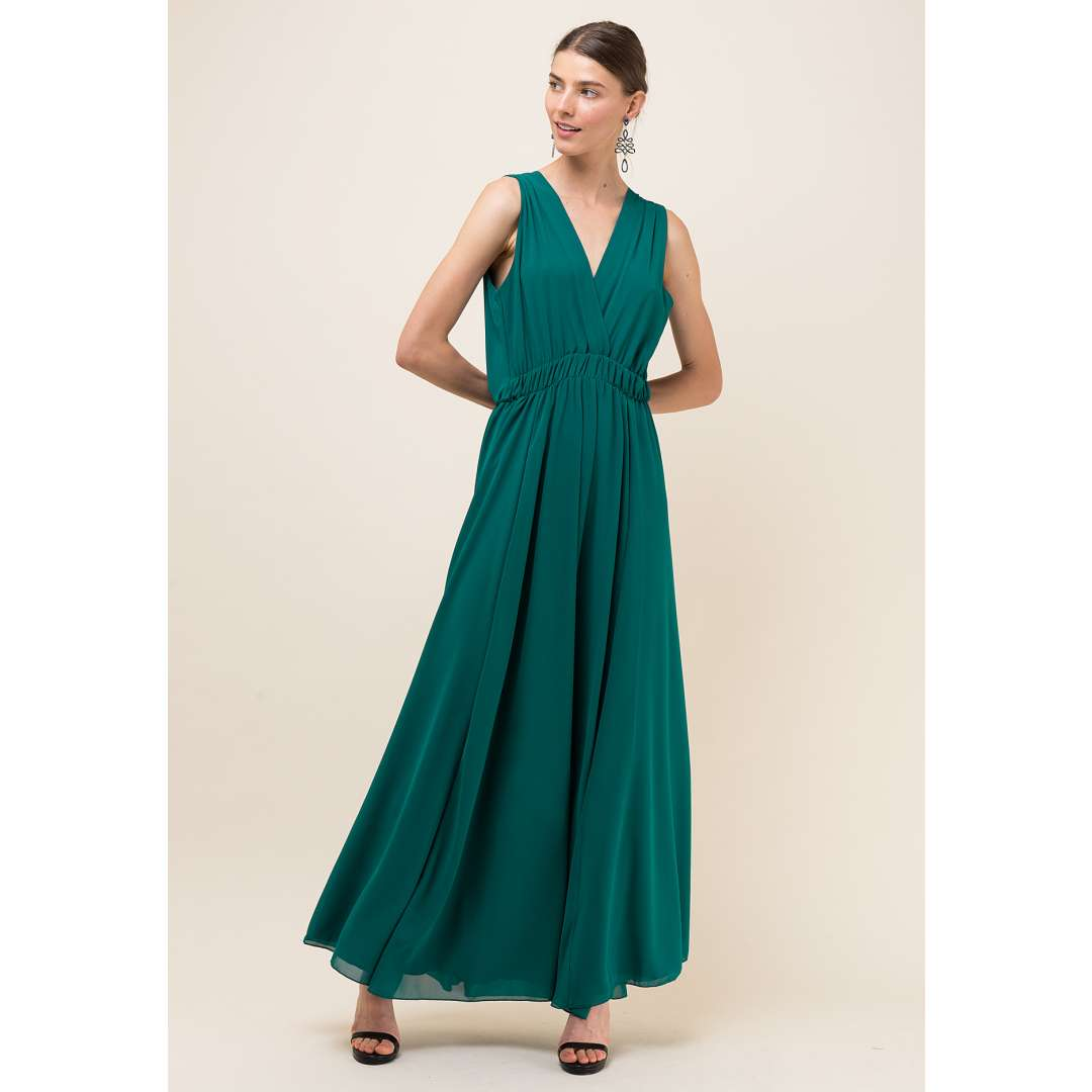 Μακρύ μονόχρωμο φόρεμα με κρουαζέ μπούστο