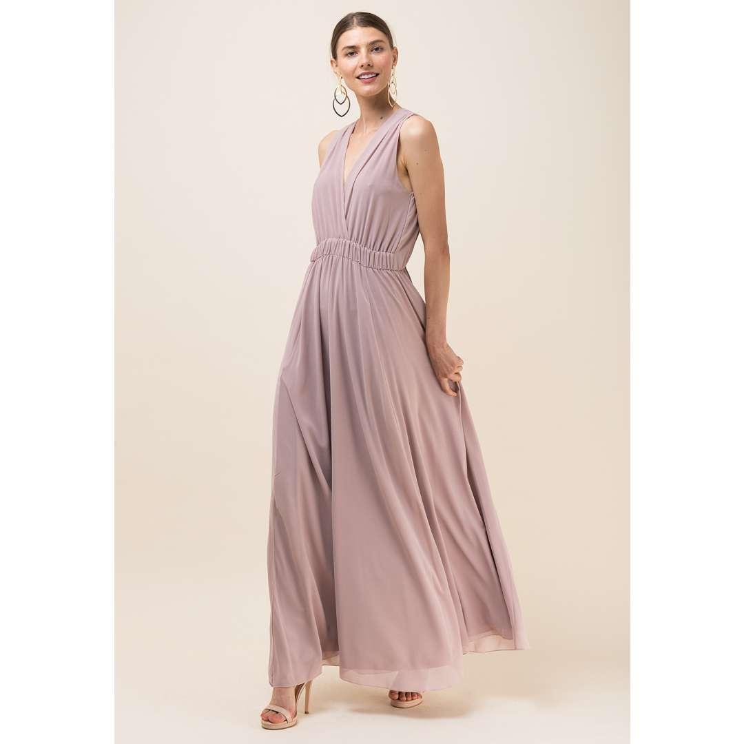 Maxi μονόχρωμο φόρεμα με κρουαζέ μπούστο