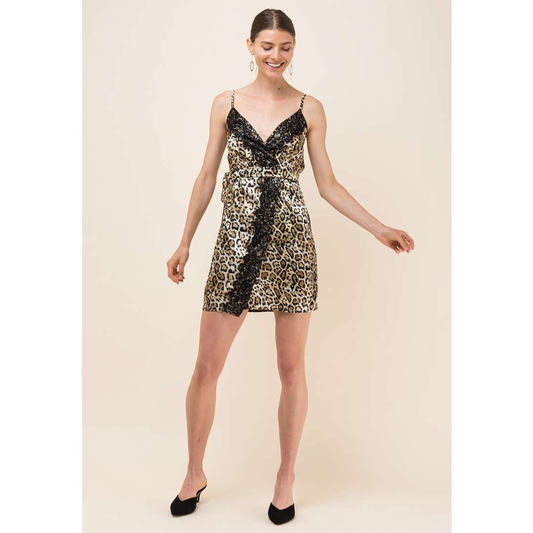 Animal print σατέν κρουαζέ φόρεμα