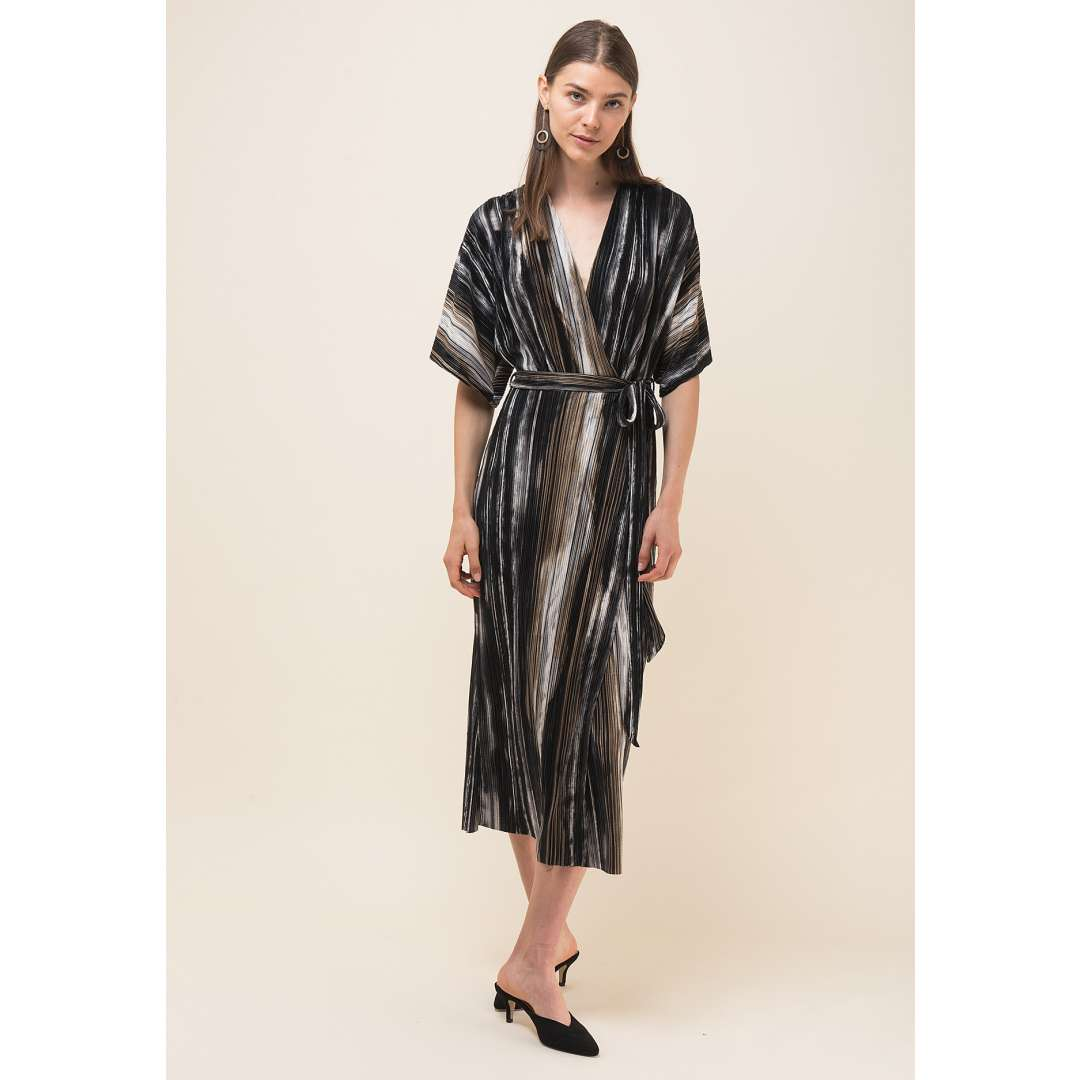 Μίντι κρουαζέ πλισέ φόρεμα