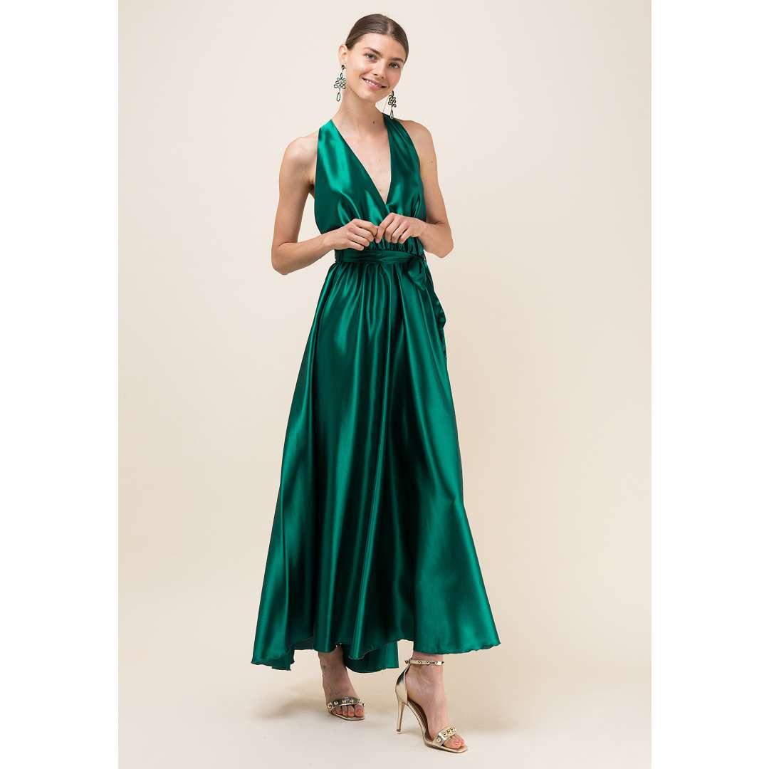 Μακρύ σατέν φόρεμα με V ντεκολτέ