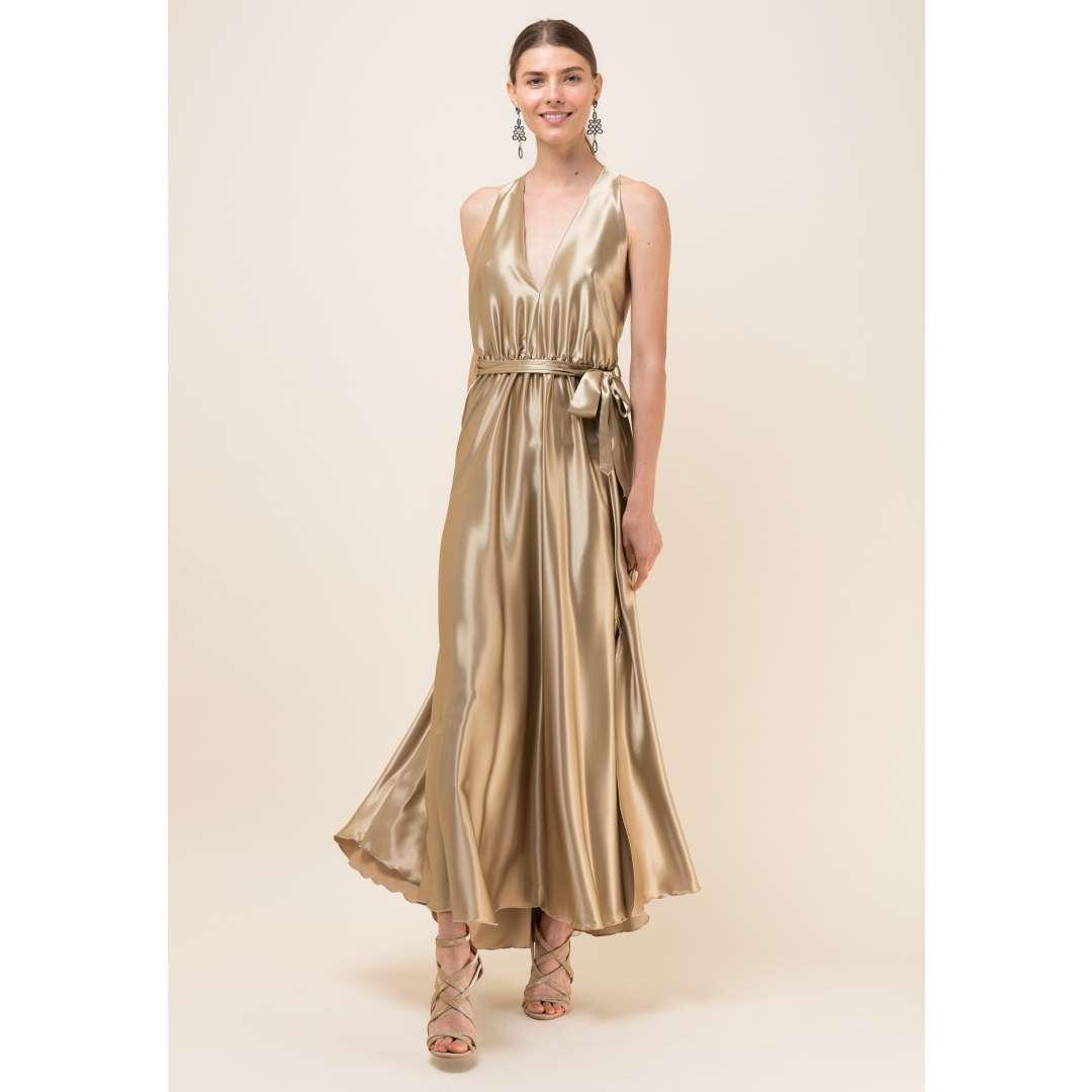 Maxi σατέν φόρεμα με V ντεκολτέ