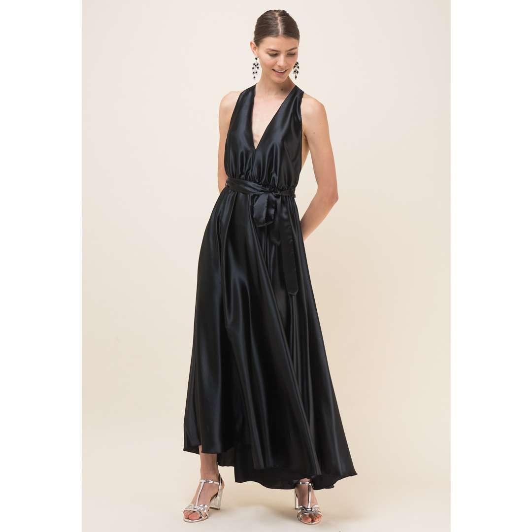 Σατέν μακρύ φόρεμα με V ντεκολτέ