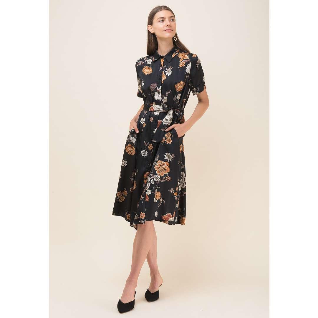 Φλοράλ φόρεμα σε στιλ πουκάμισο