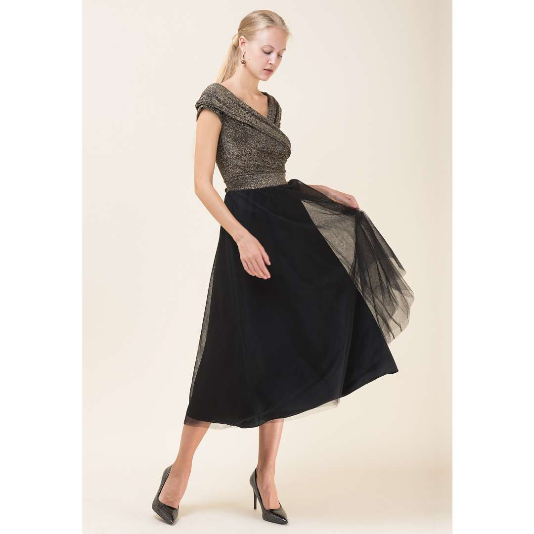 Μίντι φόρεμα με τούλινη φούστα
