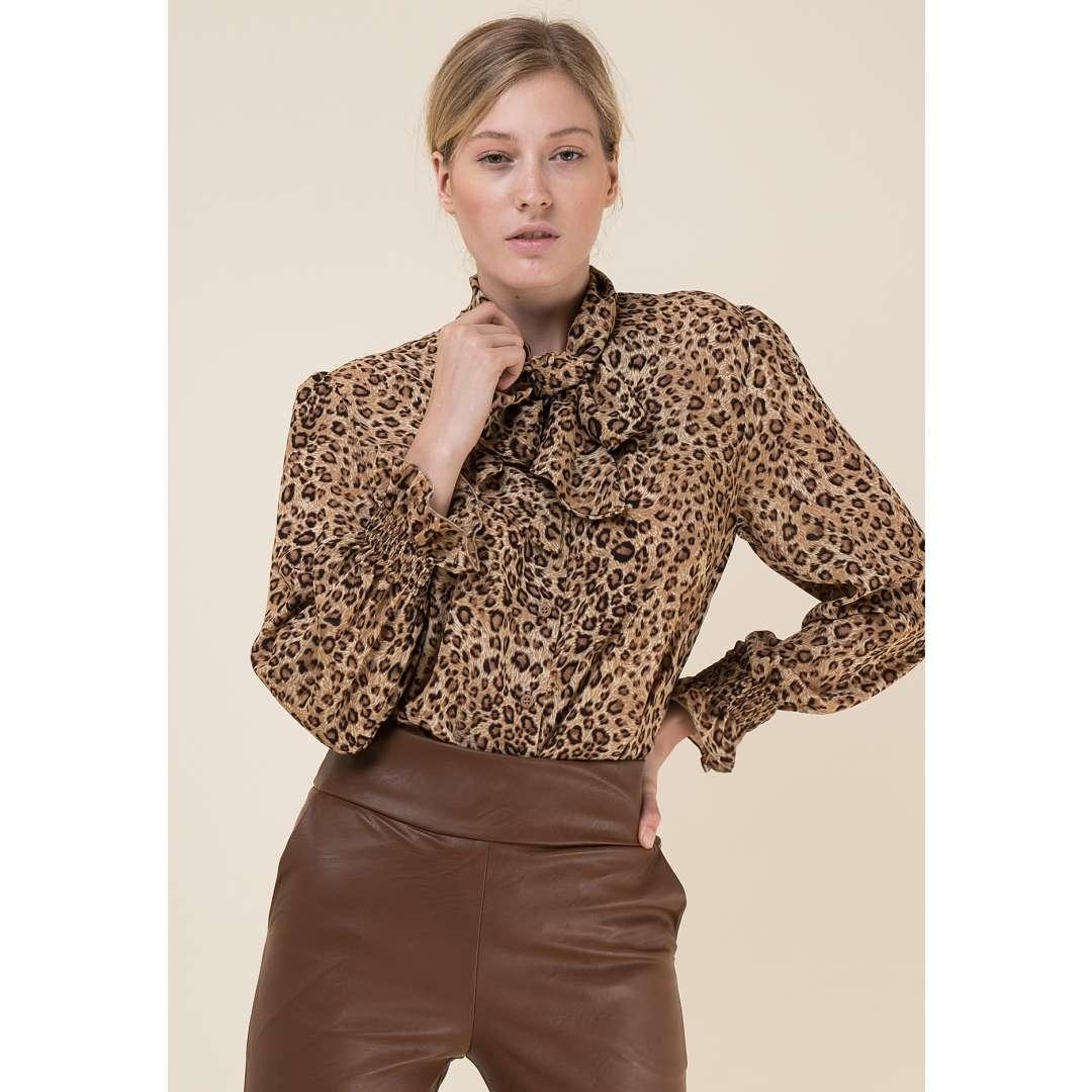 Leopard πουκάμισο με δέσιμο στο λαιμό
