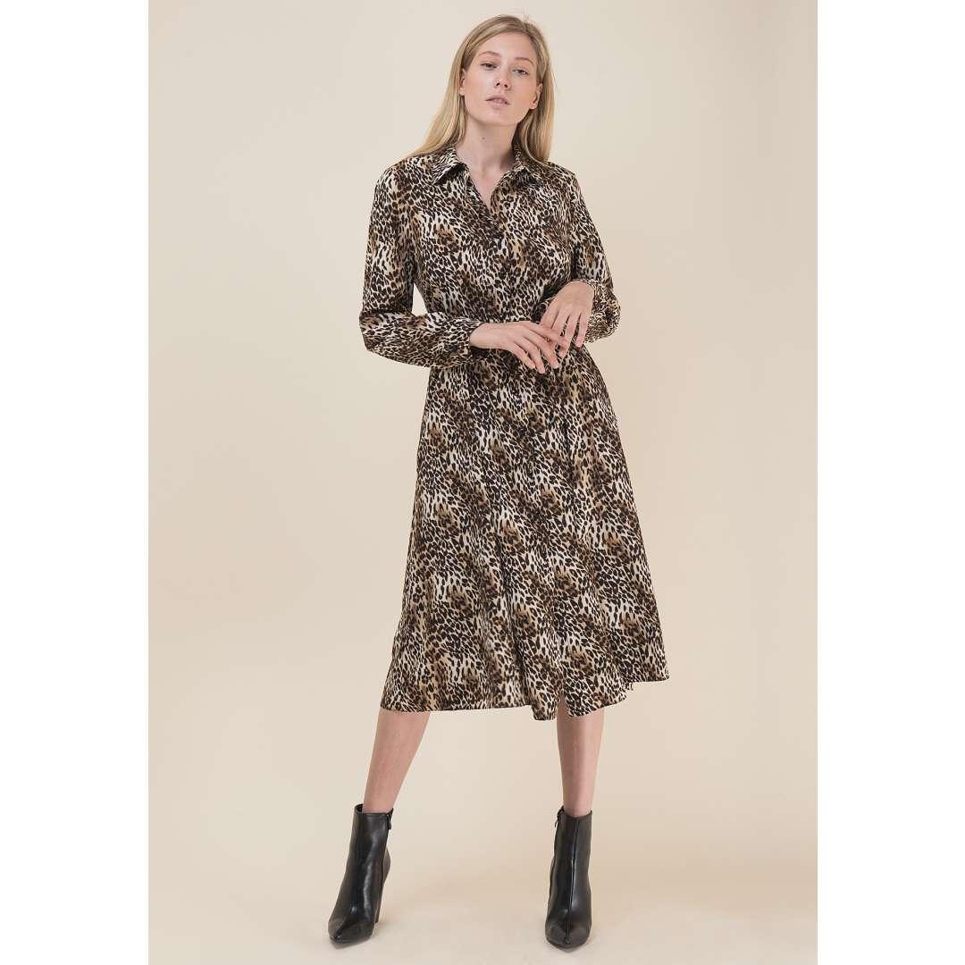 Animal print φόρεμα σε στιλ πουκάμισο