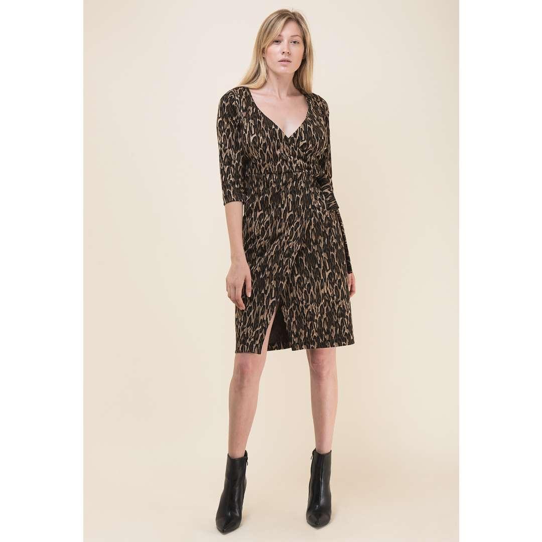 Animal print δετό φόρεμα