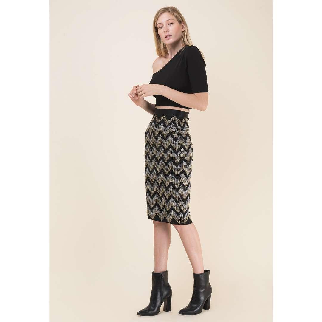 Μίντι πλεκτή φούστα