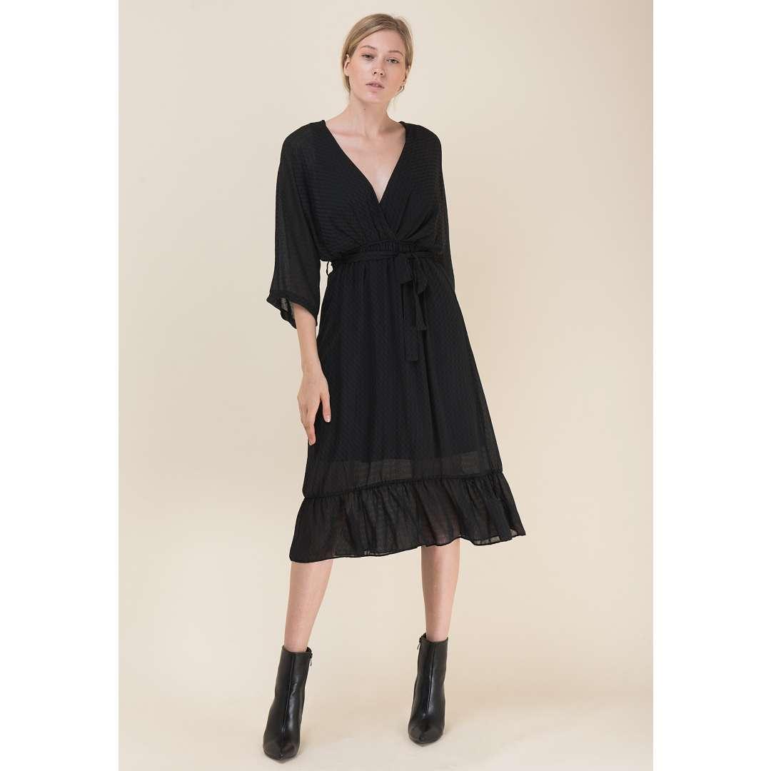 Μίντι φόρεμα με μανίκι νυχτερίδα