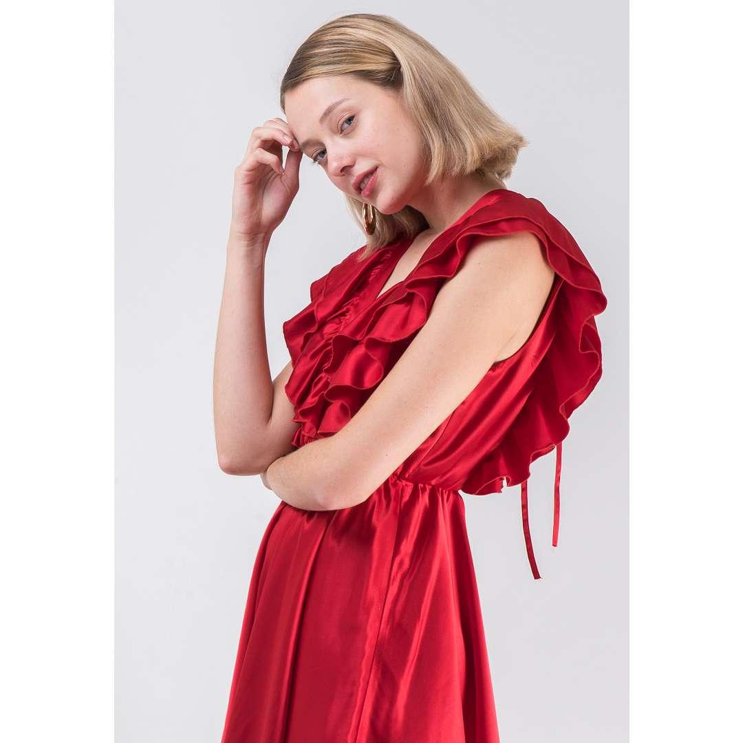 Μίνι φόρεμα με βολάν στο μπούστο