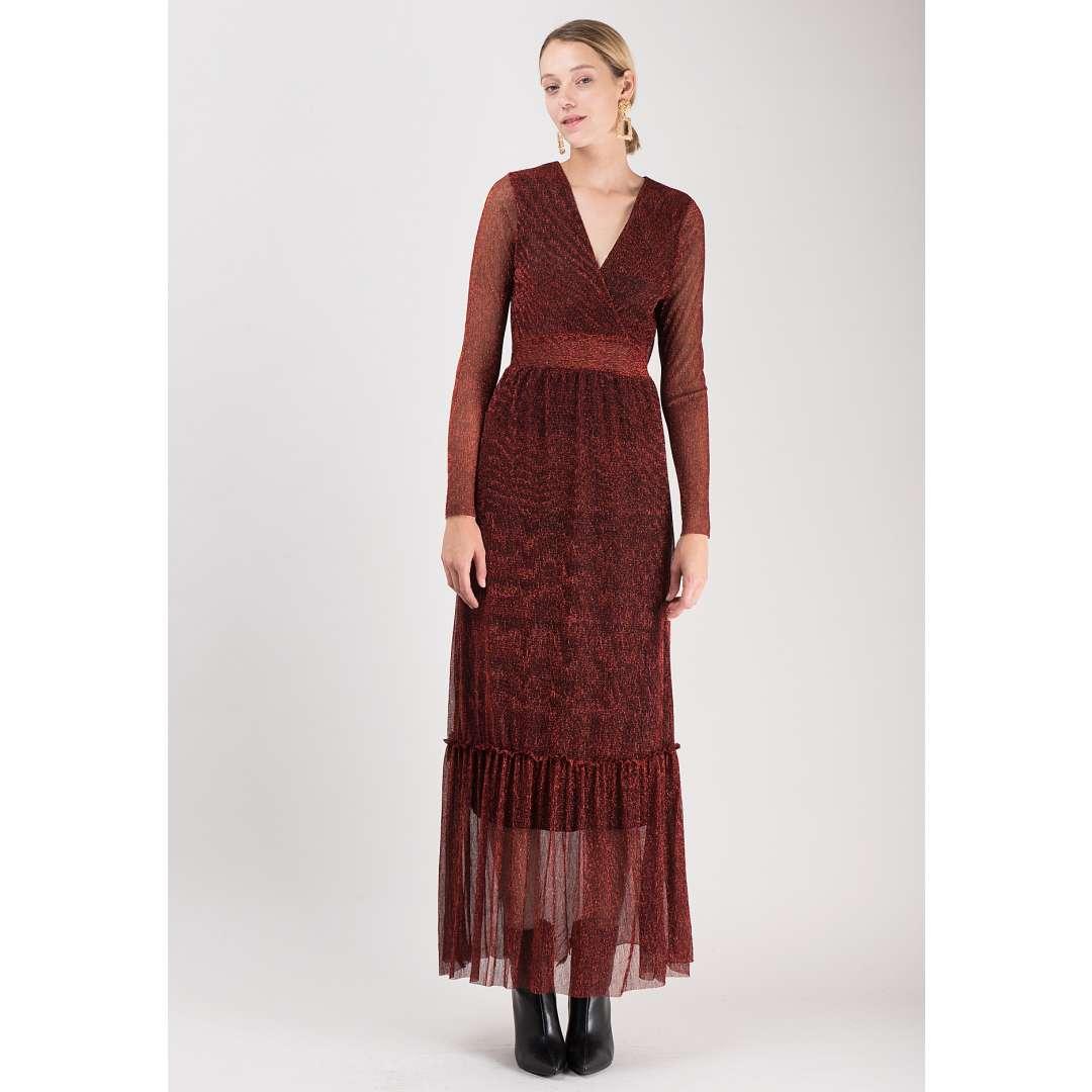 Λούρεξ φόρεμα με κρουαζέ ντεκολτέ