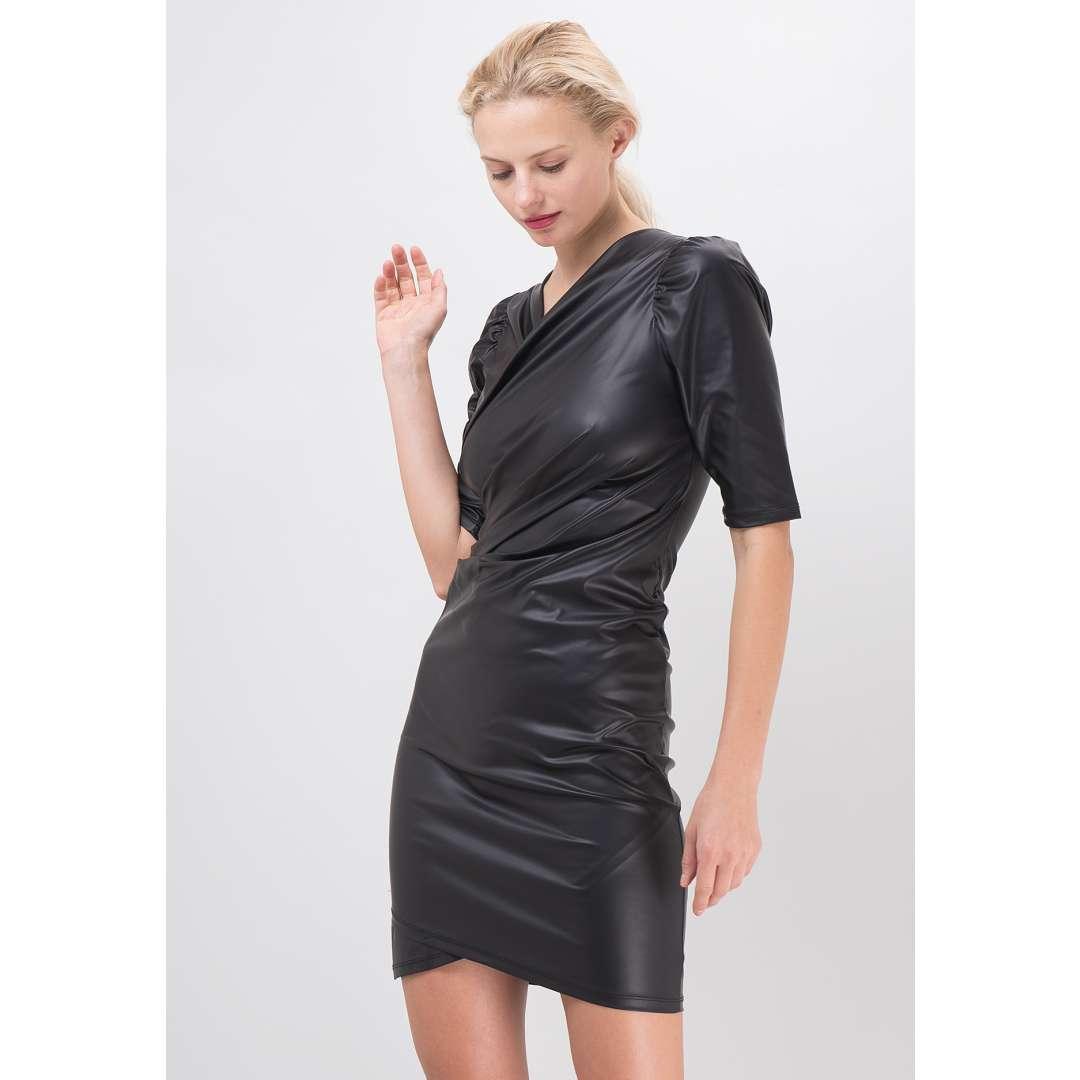Leather effect φόρεμα με σούρες