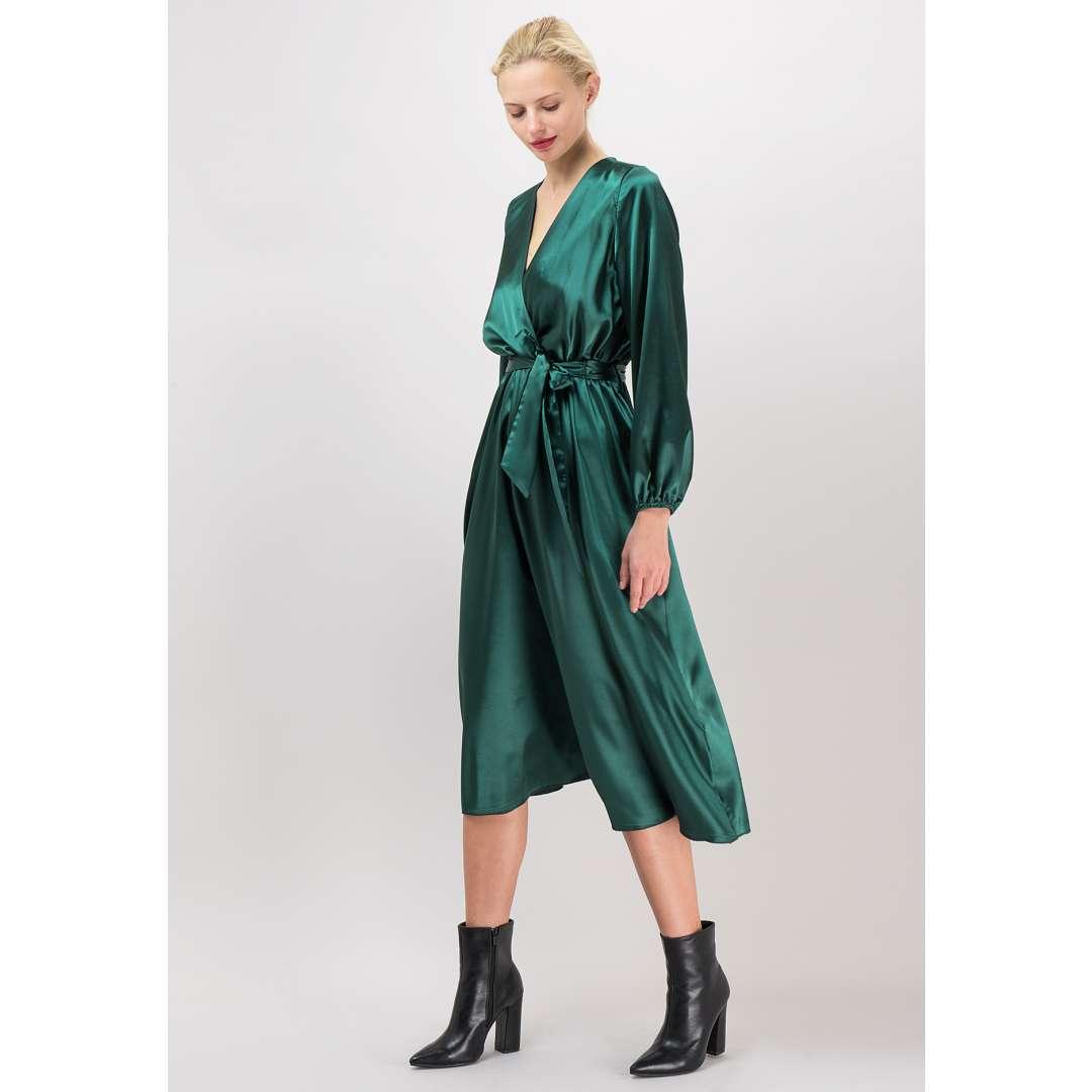 Σατέν φόρεμα με κρουαζέ ντεκολτέ