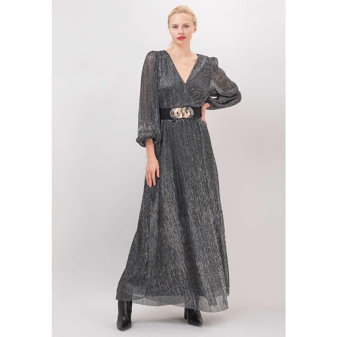 Πλισέ λούρεξ δετό φόρεμα