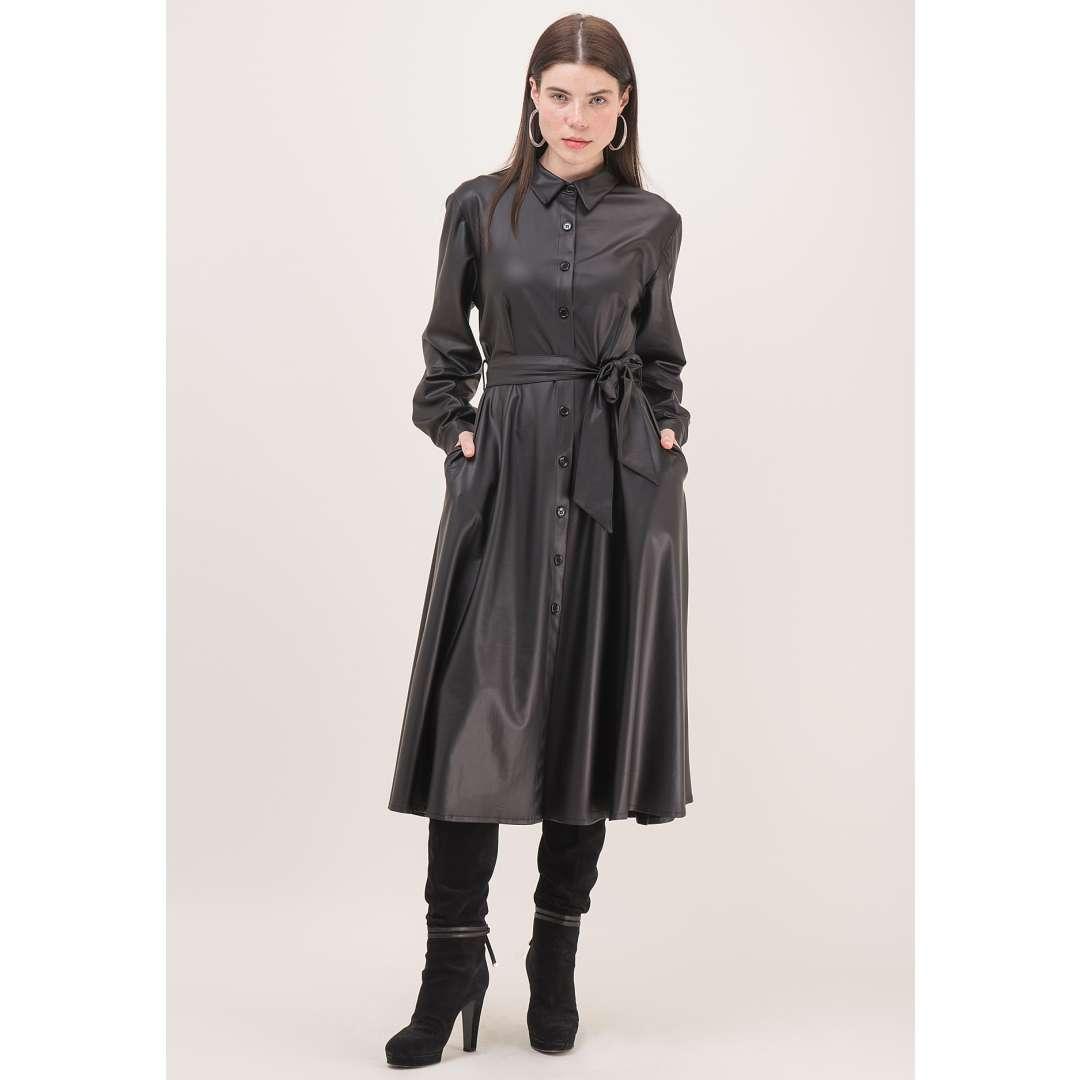 Leather effect φόρεμα σε στιλ πουκάμισο