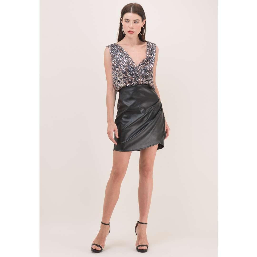 Leather effect φούστα με σούρες
