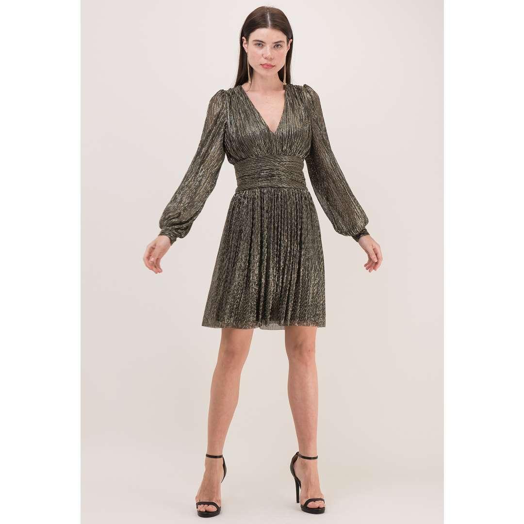 Λούρεξ πλισέ φόρεμα με balloοn μανίκι