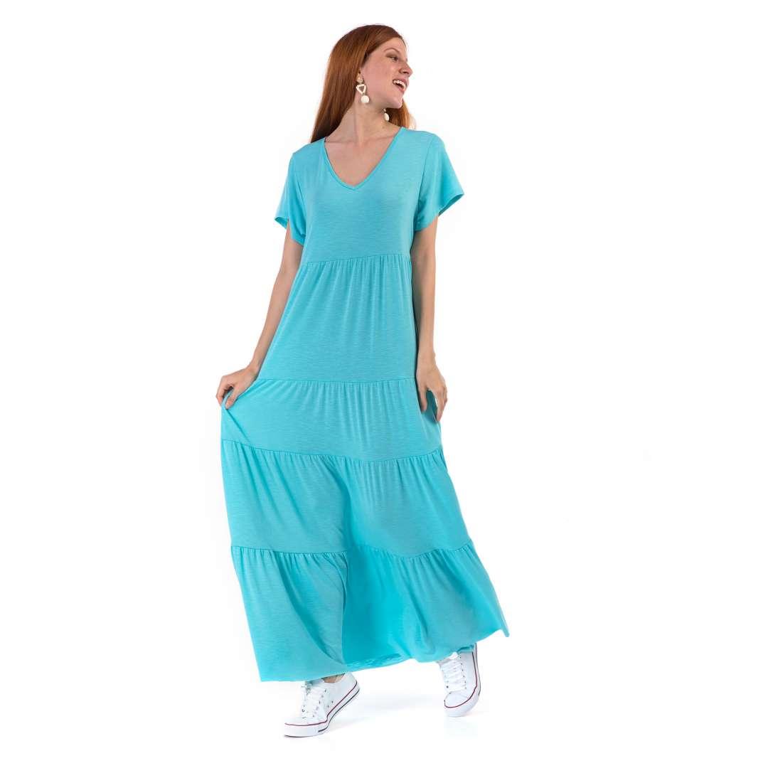 Μακό φόρεμα με V λαιμόκοψη