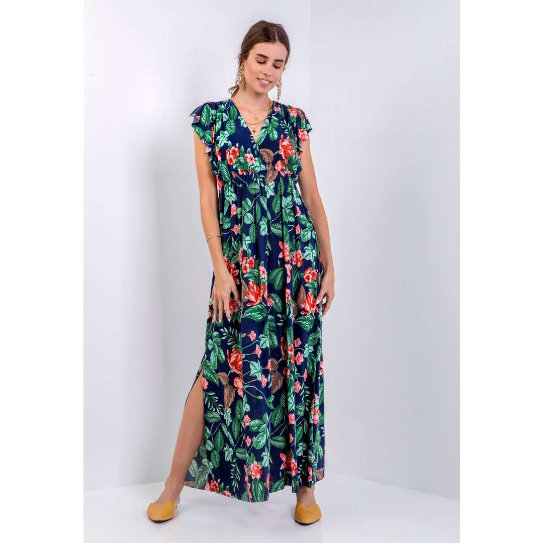Εμπριμέ φόρεμα με κρουαζέ ντεκολτέ