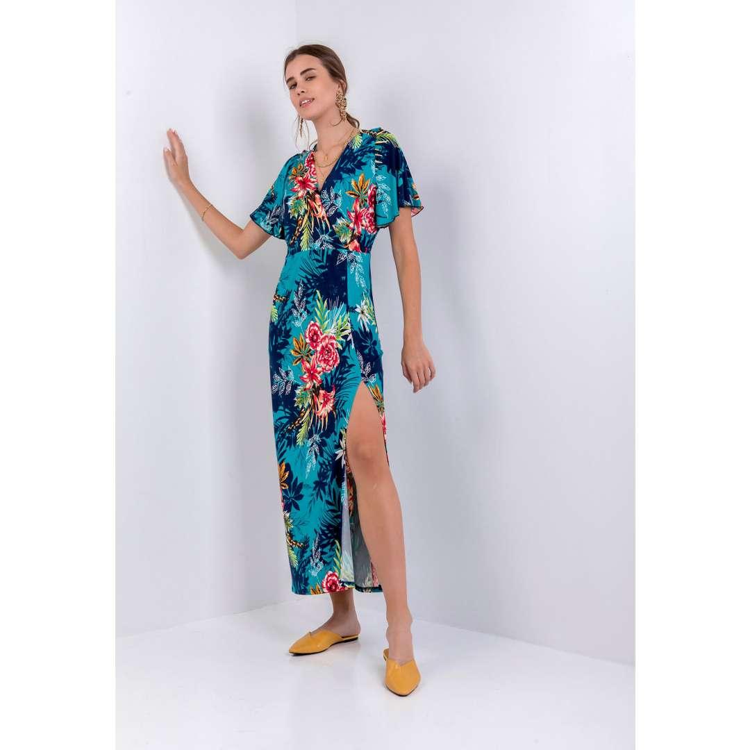 Φλοράλ φόρεμα με σκίσιμο στο πλάι