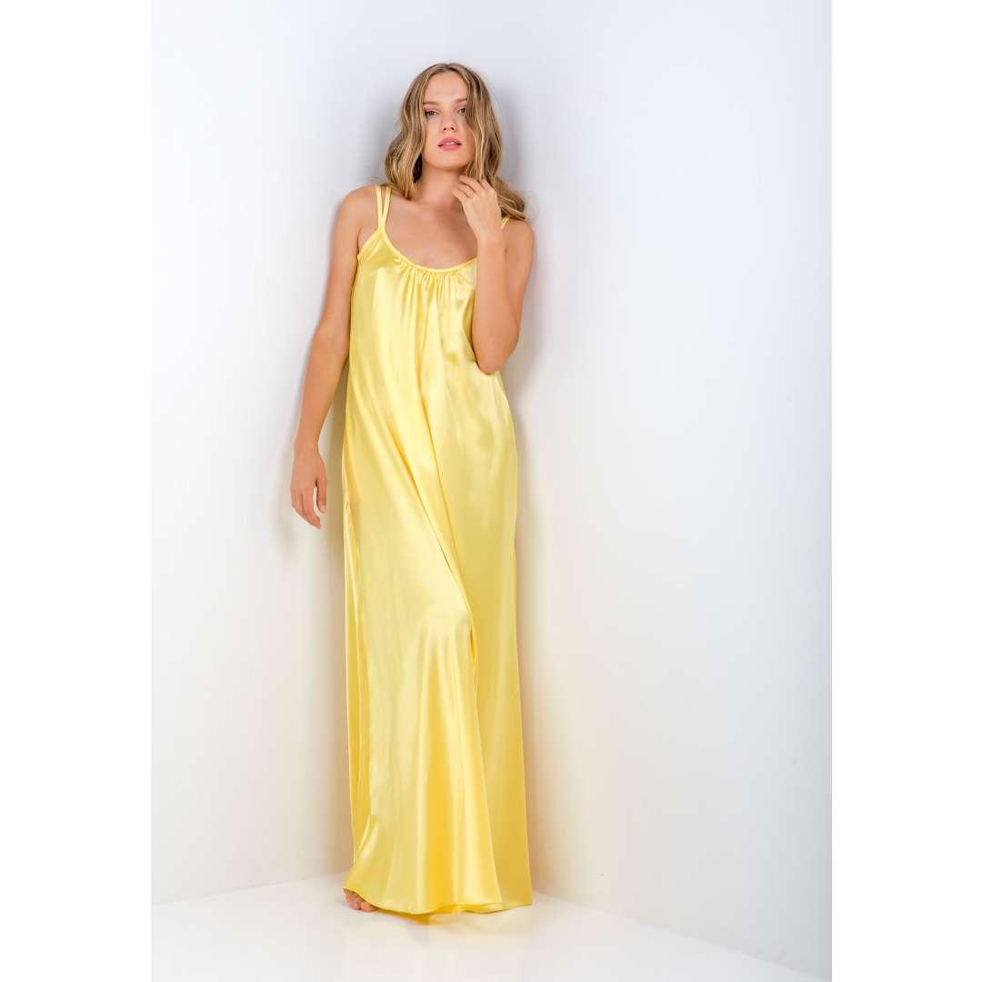 Μακρύ φόρεμα με υφή σατέν