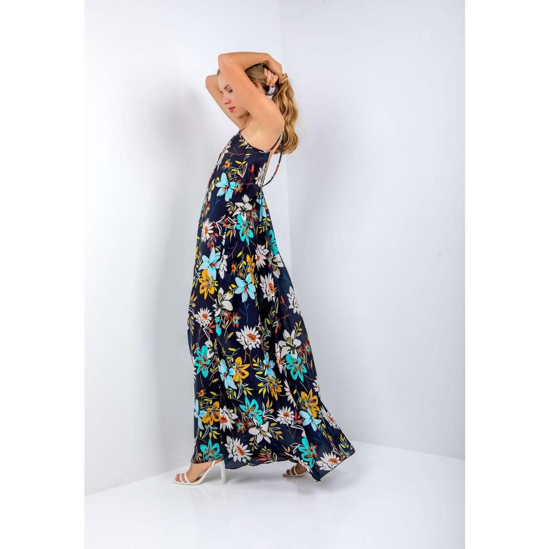 Μακρύ φλοράλ φόρεμα με υφή σατέν