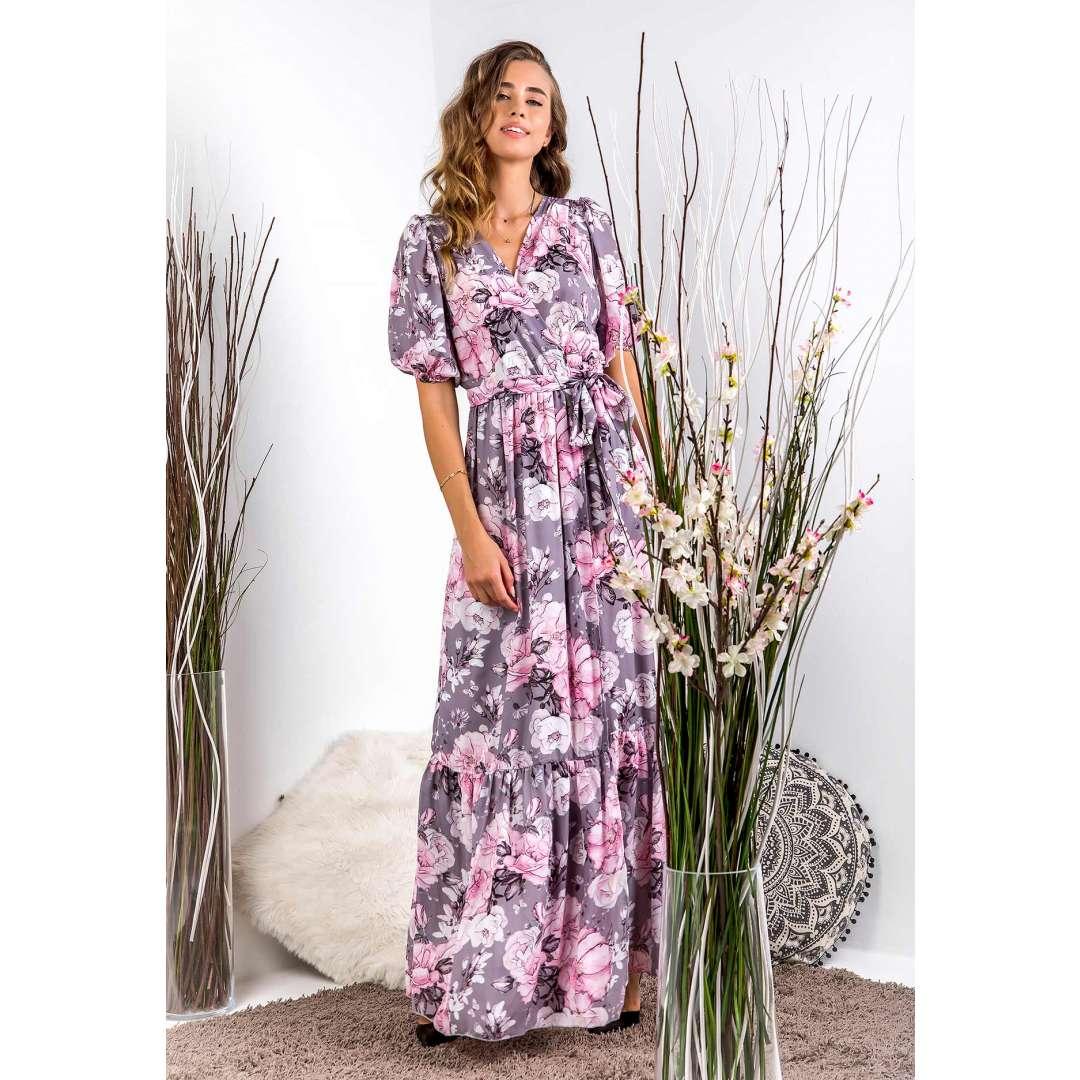 Μακρύ κρουαζέ φόρεμα με βολάν