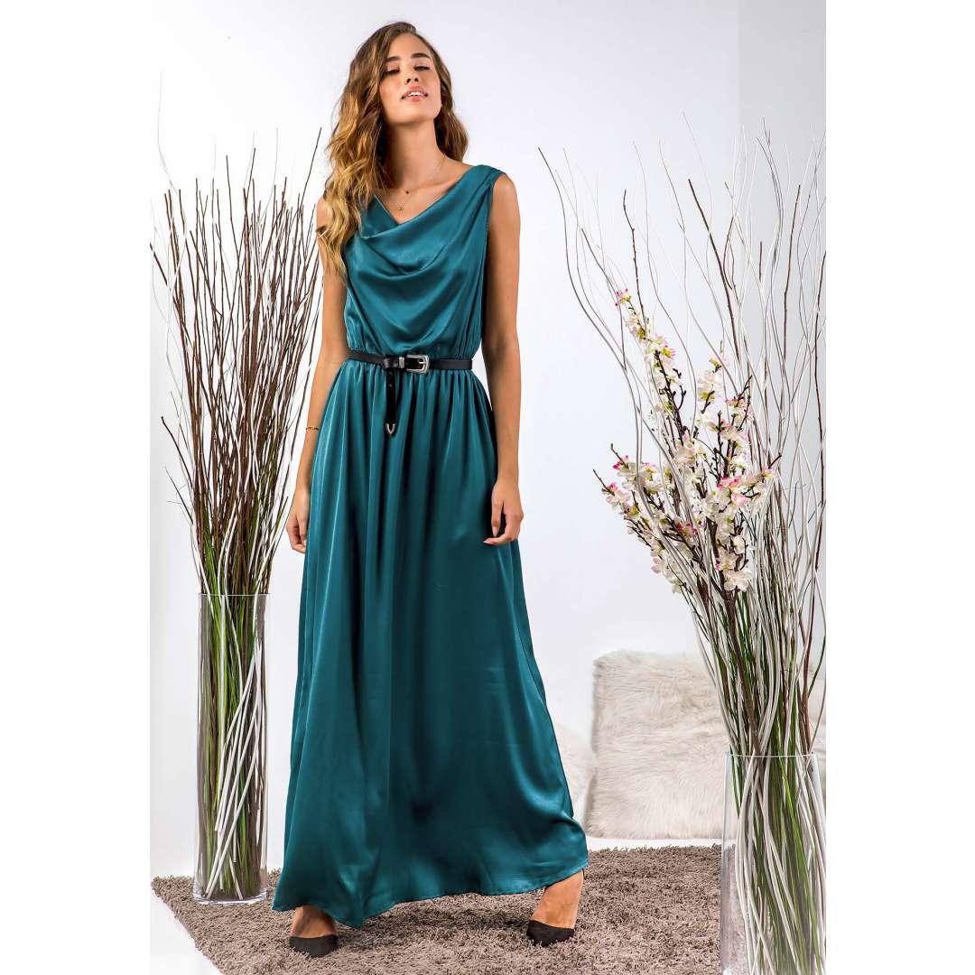 Μακρύ φόρεμα με ντραπέ ντεκολτέ