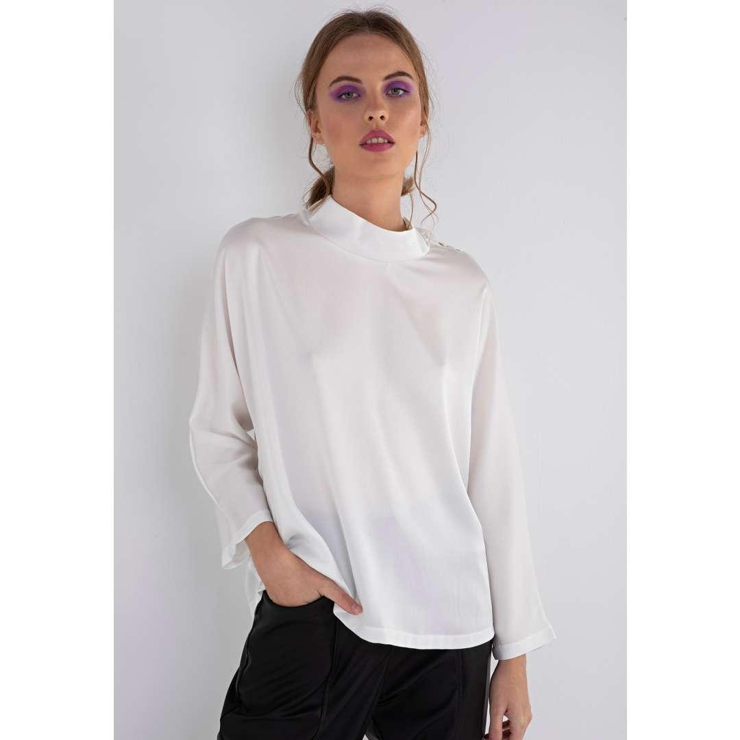 Σατέν πουκάμισο με κουμπιά στον ώμο