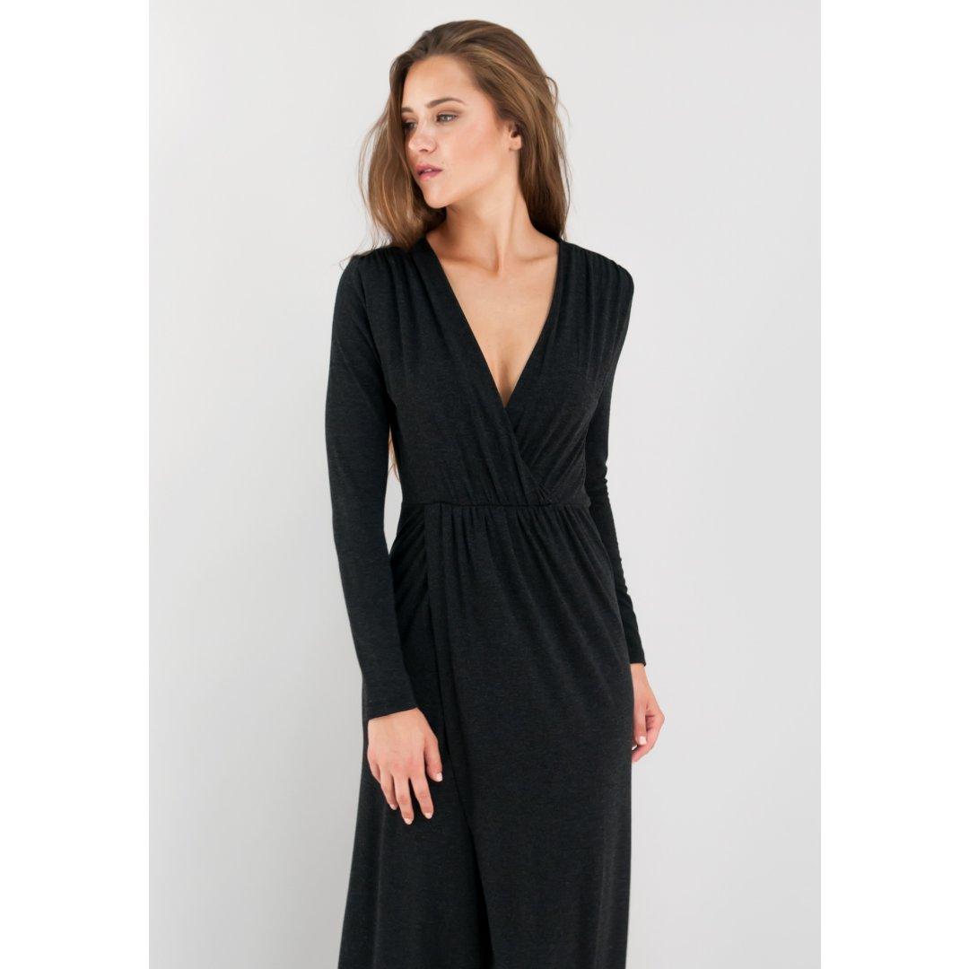 Μακρύ γκρι κρουαζέ φόρεμα με σκίσιμο μπροστά. ενδυματα   φορεματα