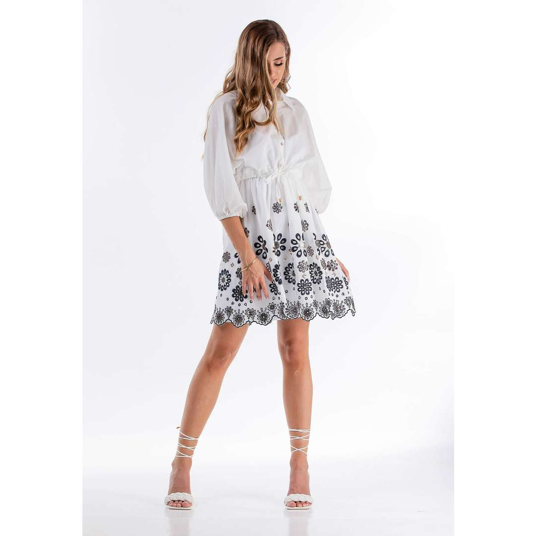 Φόρεμα μπροντερί με παγιέτα