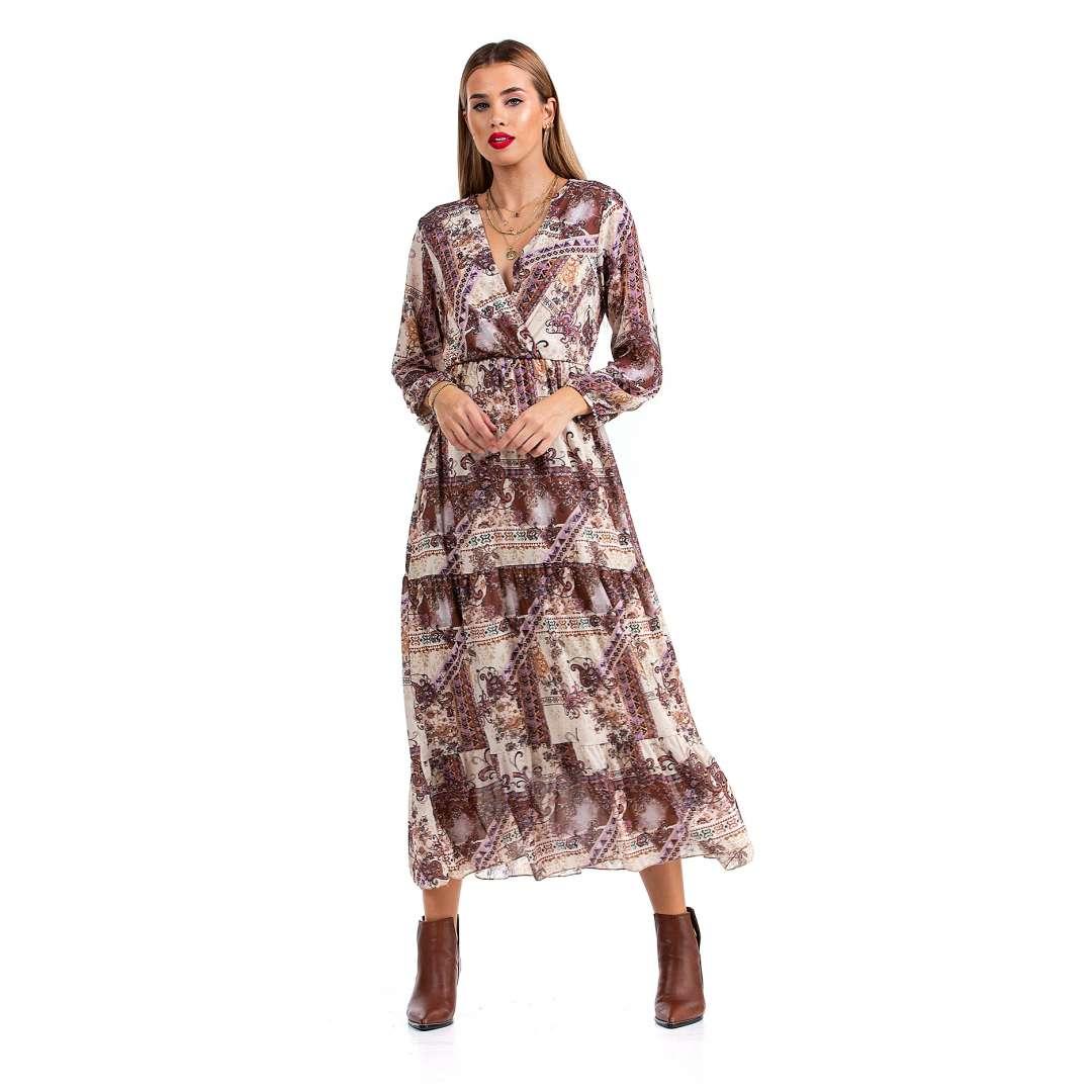 Εμπριμέ μακρύ φόρεμα
