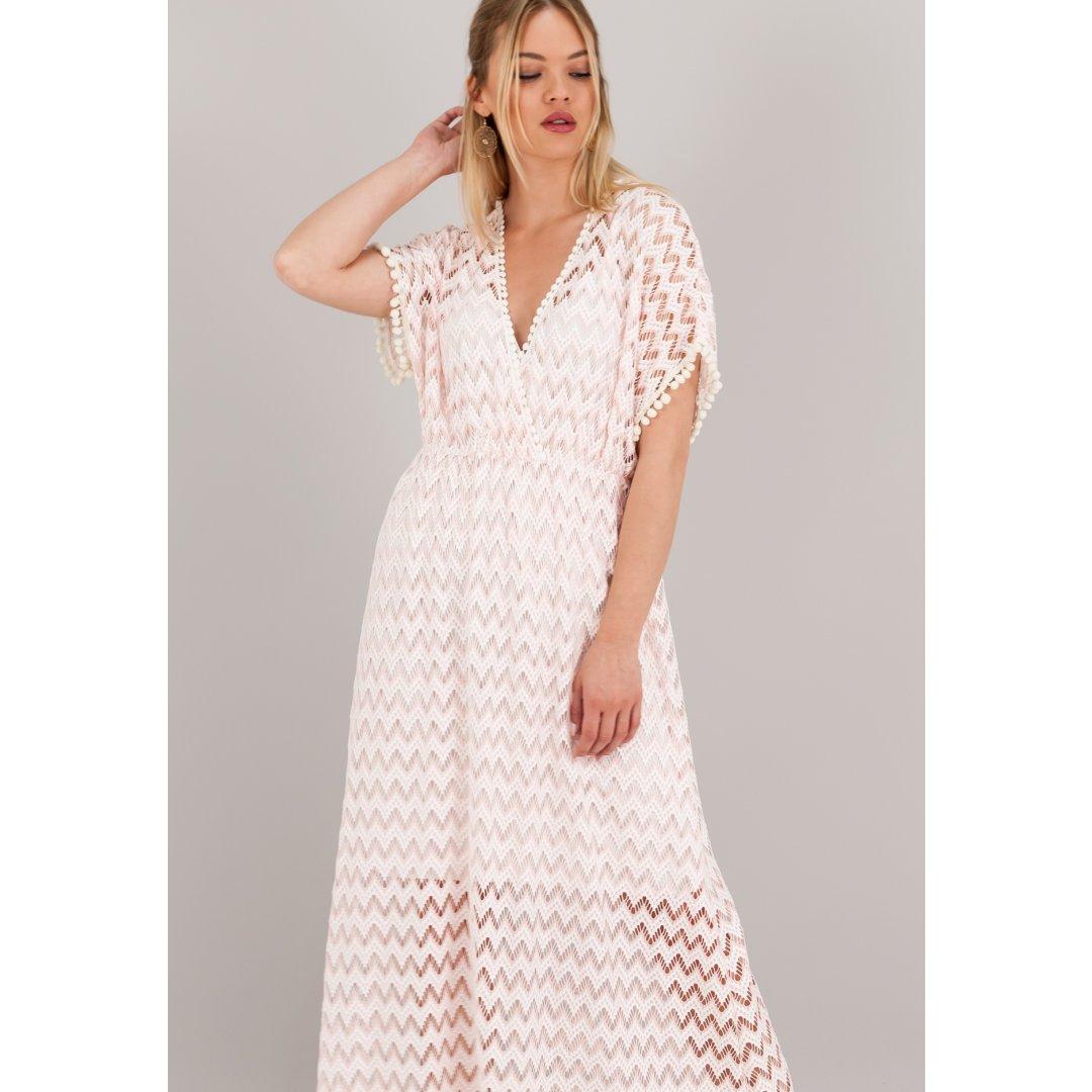 Μακρύ κρουαζέ πλεκτό φόρεμα με φαρδιά μανίκια. ενδυματα   φορεματα