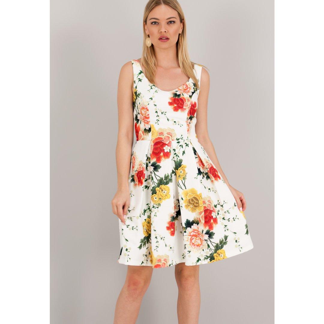 Eμπριμέ φόρεμα σε γραμμή Α. ενδυματα   φορεματα