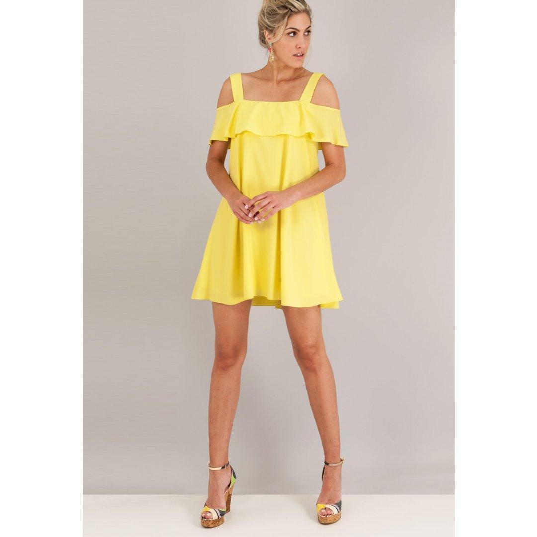 Μίνι φόρεμα με έξω τους ώμους και βολάν στο μπούστο. ενδυματα   φορεματα