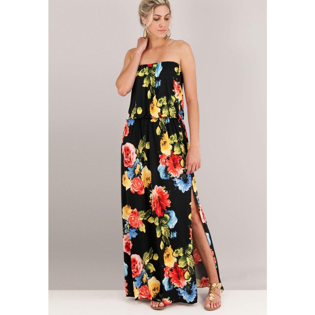 Maxi εμπριμέ στράπλες φόρεμα. ενδυματα   φορεματα